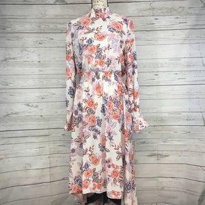 Nanette Lepore Hi-low smocked high neck dress